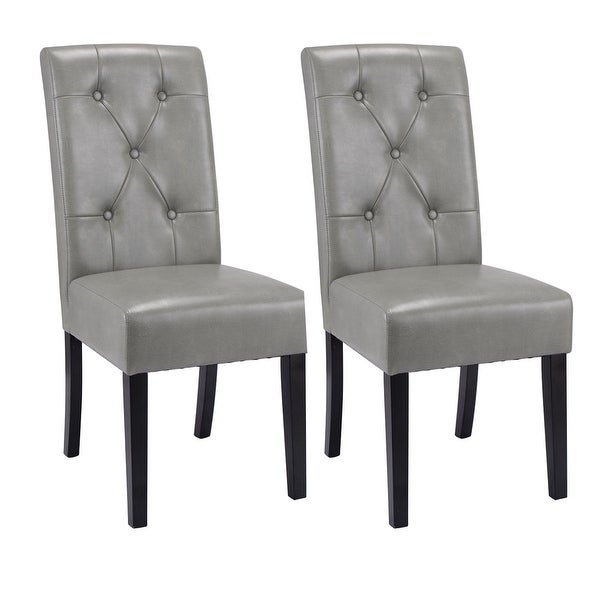 Costway Set Of 2 Dining Chairs Tufted PU Leather High Back Armless Accent  Home Kitchen