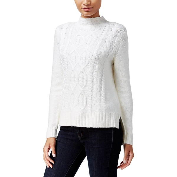 Shop Kensie Womens Mock Turtleneck Sweater Cable Knit Ribbed