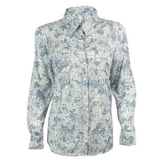 Style & Co. Women's Tab Sleeve Floral Print Shirt - pm