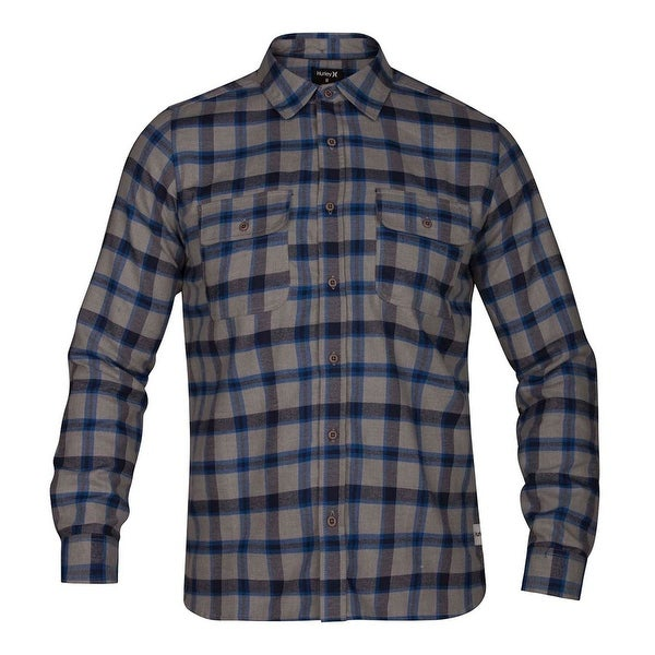 Hurley Mens Dri-Fit Flannel Button Up Shirt, Grey, Small. Opens flyout.