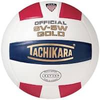 Tachikara SV5W Gold NFHS Premium Leather Volleyball, Scarlet/White/Navy
