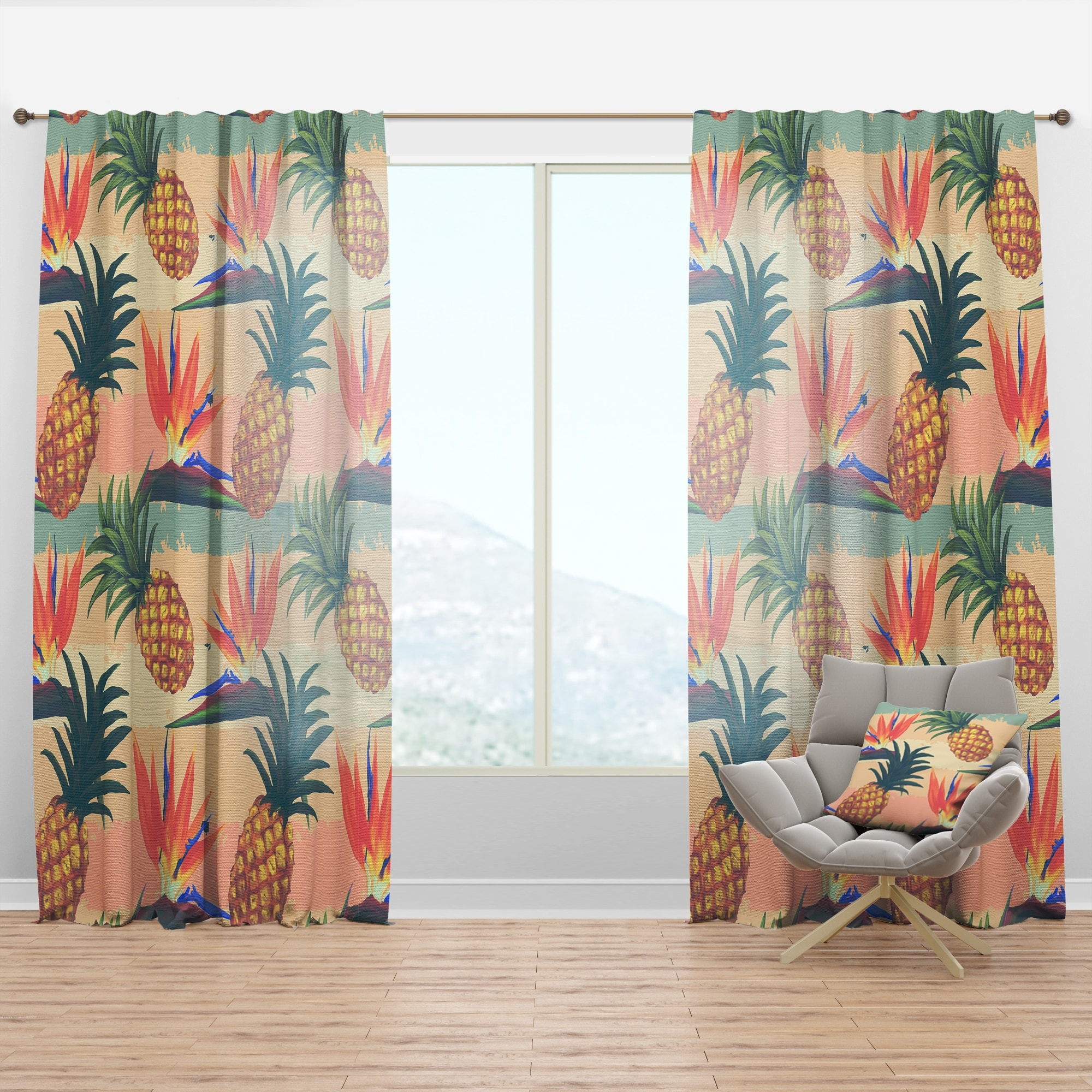 Designart Tropical Exotic Flowers Pineapple Pattern Tropical Curtain Panel Overstock 29625505