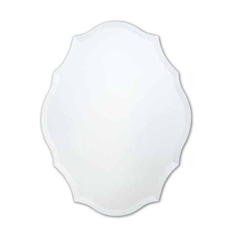 Frameless Scalloped Oval Wall Mirror