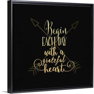 """Begin Each Day Arrows Gold On Black"" Black Float Frame Canvas Art"