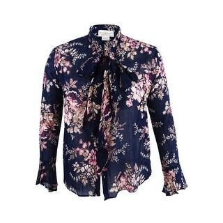 Denim & Supply Ralph Lauren Women's Floral-Print Tie-Neck Blouse (L, Navy) - Navy - l