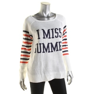 Rebellious One Womens Juniors Striped Knit Pullover Sweater - L