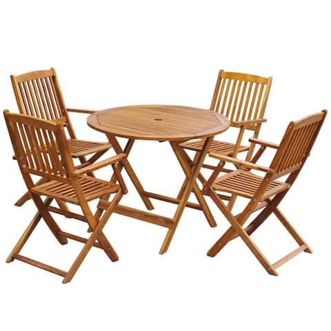 vidaXL Outdoor Dining Set 5 Piece Solid Eucalyptus Wood Garden Patio Furniture
