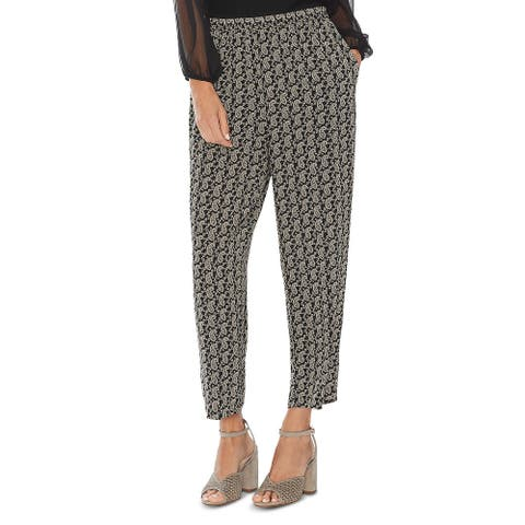 Vince Camuto Womens Ankle Pants Paisley Pull On - Rich Black