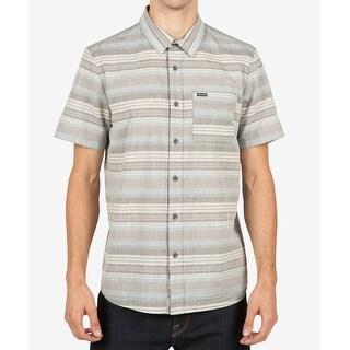 Volcom Gray Mens Size Medium M Clockwork Button Down Stripe Shirt