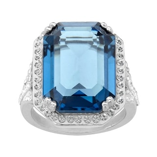 Crystaluxe Ring with Blue & White Swarovski Crystals in Sterling Silver