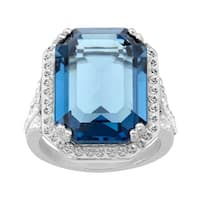 Crystaluxe Ring with Blue & White Swarovski Elements Crystals in Sterling Silver