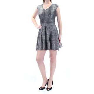 Womens Silver Cap Sleeve Above The Knee Cocktail Dress Size: S