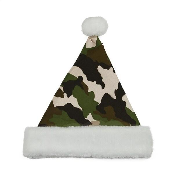 "14"" Green Camouflage Christmas Santa Hat - Medium"