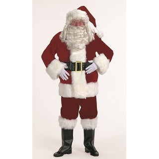 7-piece Burgundy Velvet Santa Suit Christmas Costume - Adult Size XLarge - black