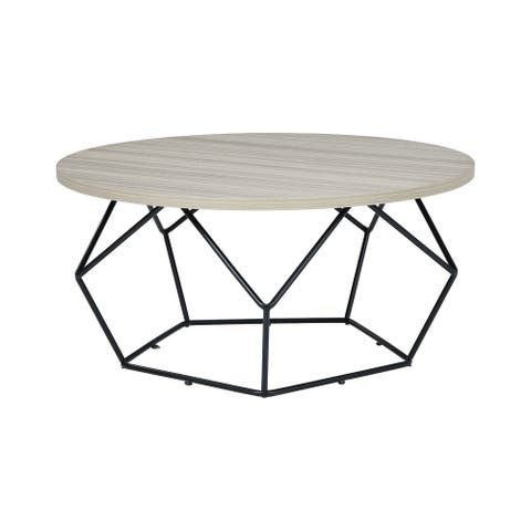 "Waylowe Contemporary Light Brown/Black Round Cocktail Table - 36""W x 36""D x 18""H"