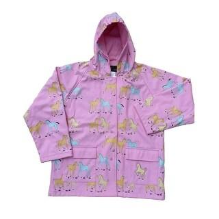 Little Girls Pink Pony Rain Coat 2T-6