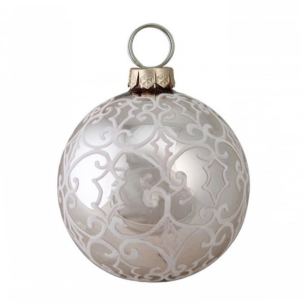 """4"""" (100MM) Nature's Luxury Victorian-Style Scrollwork on Rose Gold Glass Christmas Ornament"""