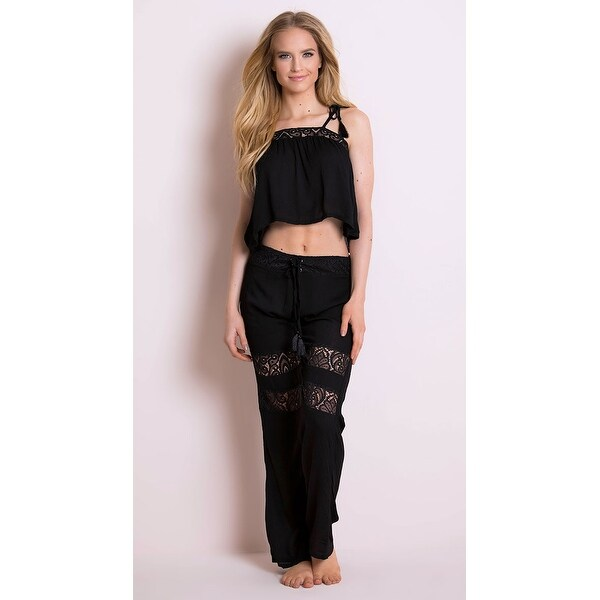34d6190fb6 Shop Moonlight Gauze Swing Pant - Black - Free Shipping On Orders Over $45  - Overstock - 27741722