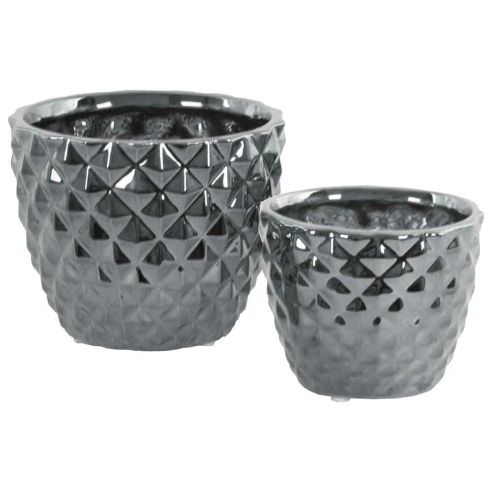 Round Ceramic Vase With Engraved Diamond Design , Set Of 2, Silver