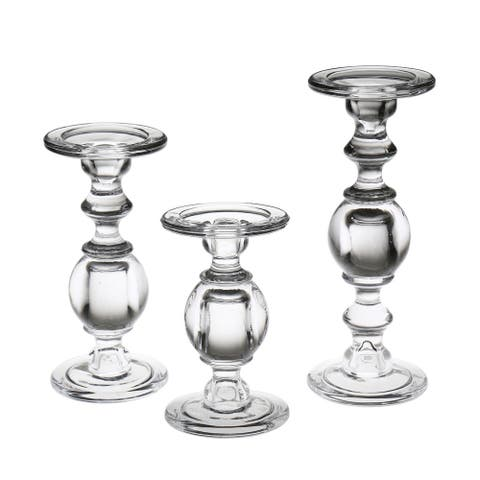 """Glass Pillar Candle Holders - Set of 3 Clear Solid Glass Baluster Candleholders for 3"""" Pillar Candles - Stands 7""""H to 11""""H"""