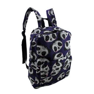 Happy Panda Print Blue Canvas Laptop Backpack