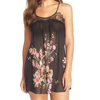 Flora Nikrooz NEW Black Floral Women's Size Small S Babydoll Chemise