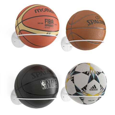 Wallniture Sporta Metal Ball Holder, Storage Rack for Basketball, Volleyball, Soccer Ball (Set of 4)