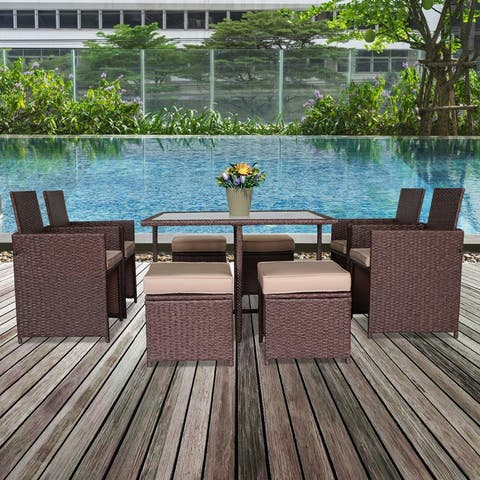 9PCS Patio Rattan Wicker Furniture Outdoor Dining Set with Cushion