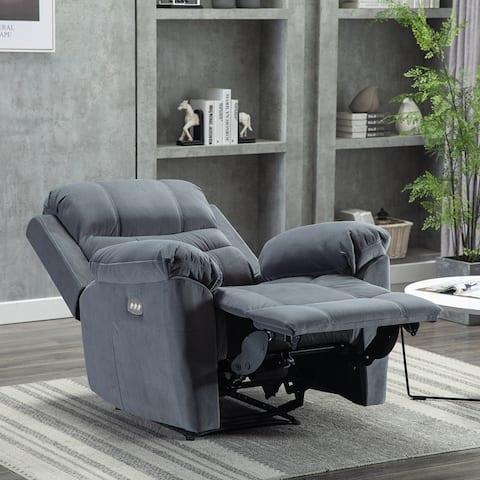 Velvet Fabric Reclining Chair -Stylish Living Room Sofa Chair