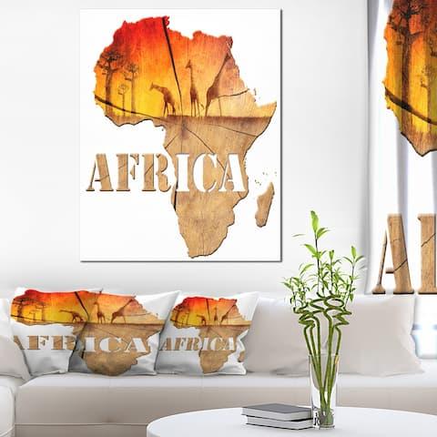 Designart 'Africa Map Wooden' Abstract Canvas Artwork