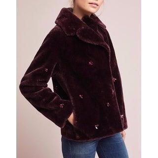 Anthropologie Embellished Faux Fur Coat - Wine