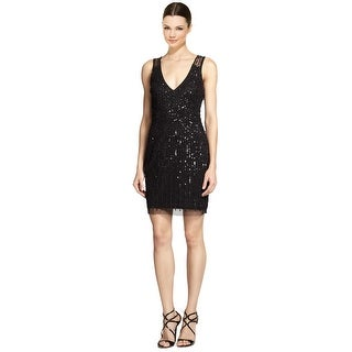 Aidan Mattox Alluring Beaded Illusion-Back Cocktail Party Dress