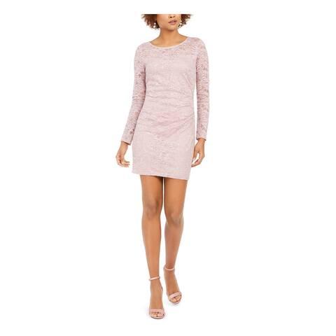 BCX Pink Long Sleeve Short Dress 0