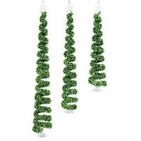"Spiral Christmas Tree Ornament (Set of 3) 7.5""H-11.5""H Glass - green"