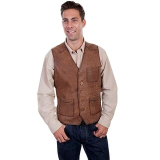 Scully Western Vest Mens Button Front Leather Chest Pocket 617