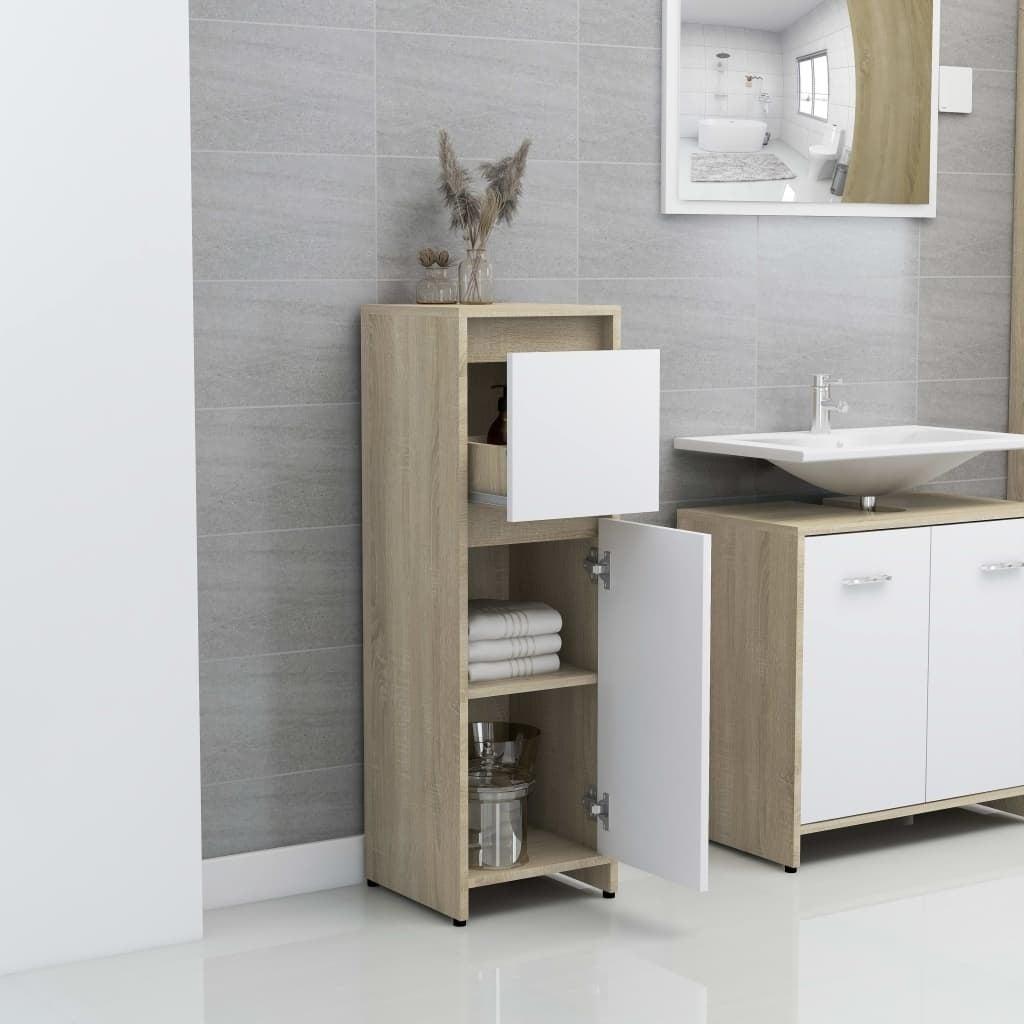 Oak White Bathroom Furniture 3Piece Set Mirror Cabinet Cupboard Under Basin Sink