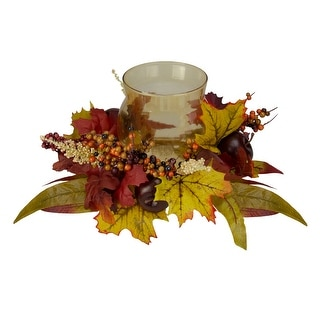 "15"" Autumn Harvest Apple and Berry Hurricane Glass Pillar Candle Holder - N/A"