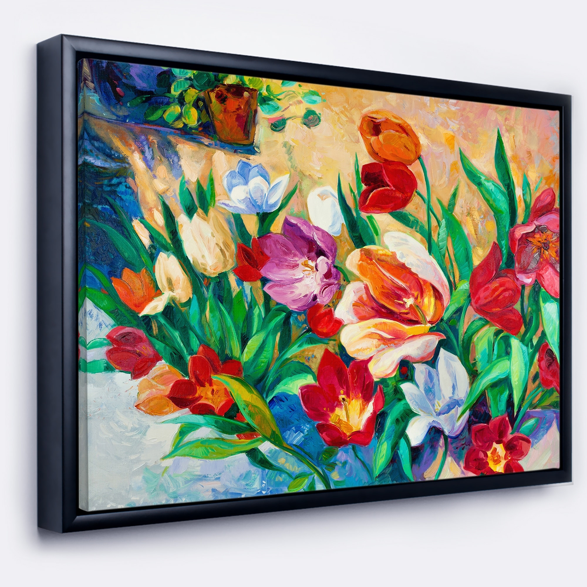 Designart Bouquet Of Colorful Flowers Large Floral Wall Art Framed Canvas Overstock 18956627