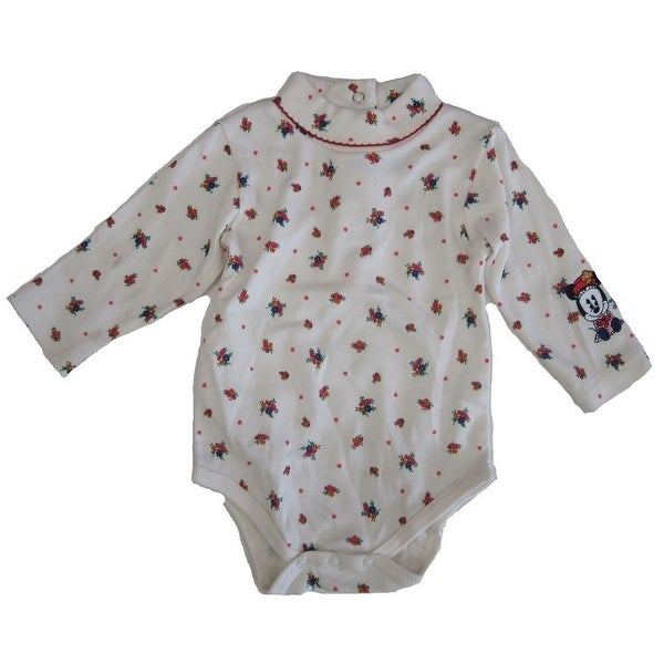Disney Baby Girls White Floral Minnie Mouse Print Long Sleeve Bodysuit 0-9M
