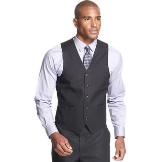 Sean John Classic Fit Vest Black 44 Short 44S Tonal Striped Suit Separates