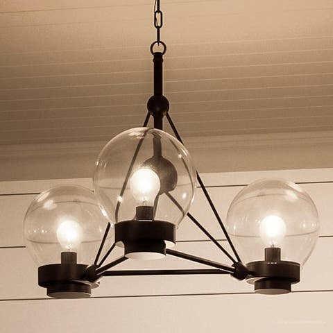 """Luxury Contemporary Ceiling Fixture, 14""""H x 19.625""""W, with Industrial Chic Style, Midnight Black Finish by Urban Ambiance"""