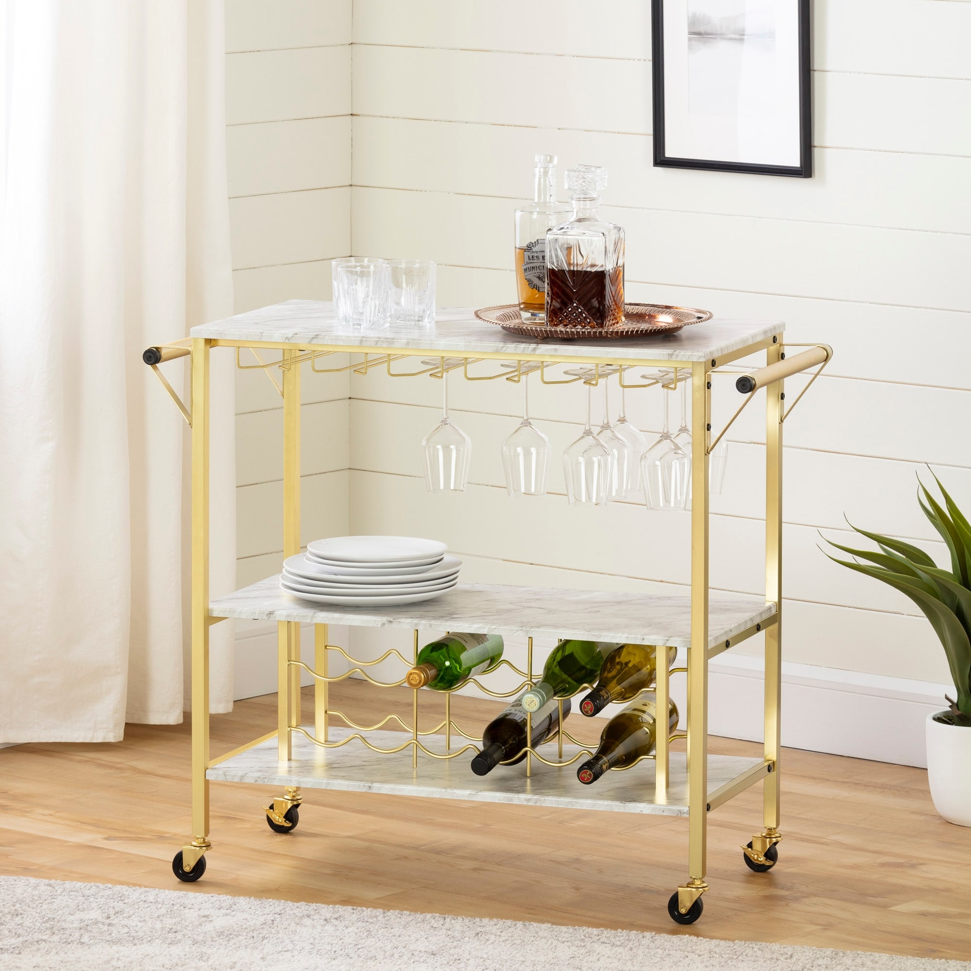 South Shore Maliza Bar Cart W Wine Bottle Storage Glass Rack On Sale Overstock 30794173 Faux Marble And Black