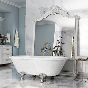 Pelham White Luxury 60 Inch Clawfoot Tub With Nickel Ball