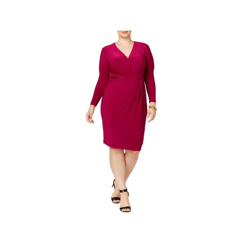 Anne Klein Womens Plus Wrap Dress Ruched Long Sleeves - 1X