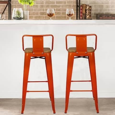 """30"""" Low Back Metal Stool with Dark/Light Wooden Seat-Set of 2"""