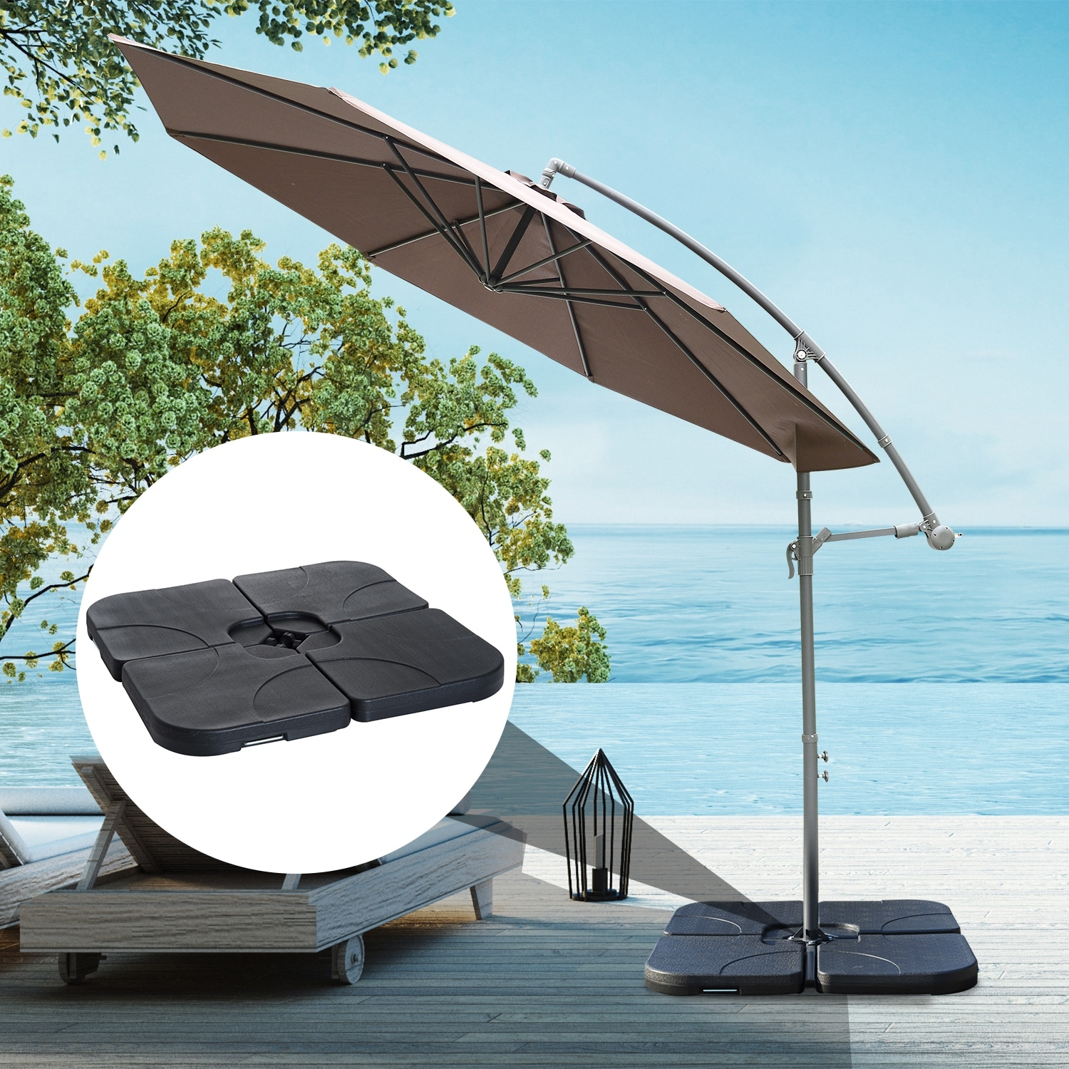 North Bend 4 Piece Offset Patio Umbrella Base Weight Set By Havenside Home On Sale Overstock 22393432