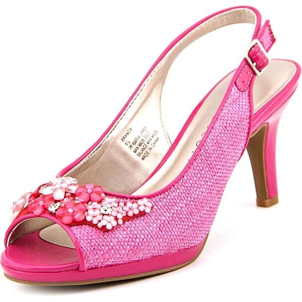 Karen Scott Branca Women Peep-Toe Canvas Pink Slingback Heel