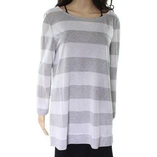 Lafayette 148 New York NEW Silver Striped Women's Size XL Knit Blouse