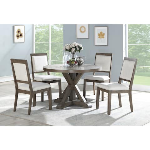 Morgan Washed Grey Oak Round 5-Piece Dining Set by Greyson Living