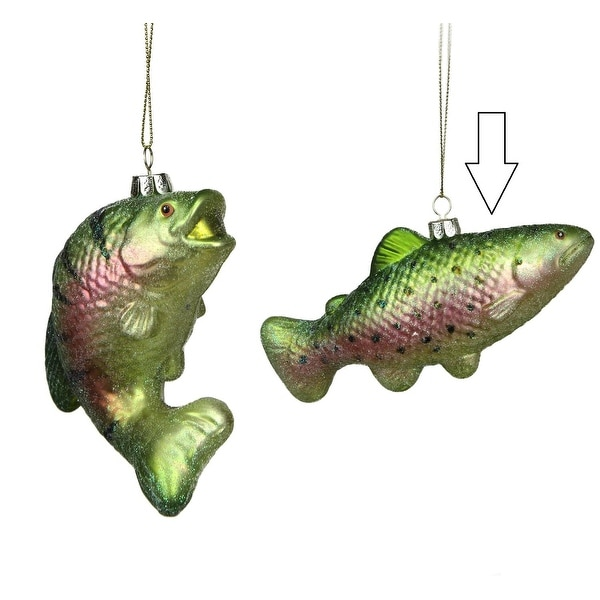 "3"" Under the Sea Glittered Metallic Green Spotted Fish Glass Christmas Ornament"
